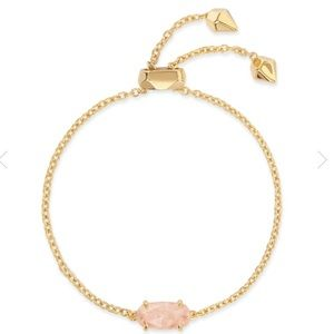 Kendra Scott Everlyne Gold Bracelet In Rose Quartz